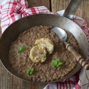 essfertige Knoblauch-Curry-Linsen Birgits Knödelstubn